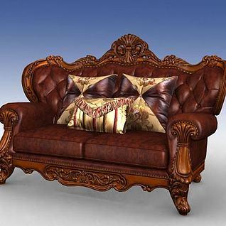 美式双人沙发3d模型
