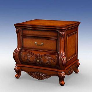 实木美式床头柜3d模型
