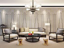 新中式简约沙发茶几组合3d模型