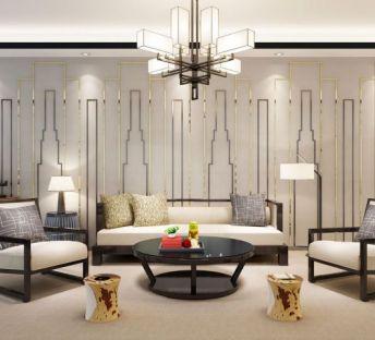 新中式简约沙发茶几组合