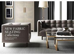 3d现代<font class='myIsRed'>美式沙发</font>组合模型