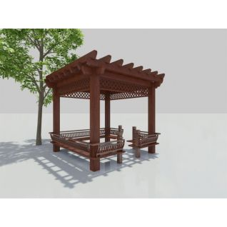 木质廊亭3d模型