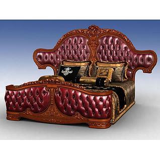 美式软包床3d模型