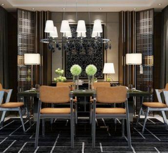 现代餐桌椅边柜吊灯组合