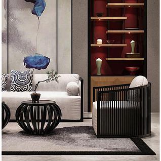 新中式沙发椅子组合3d模型