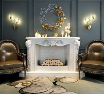 现代简约单椅壁炉组合