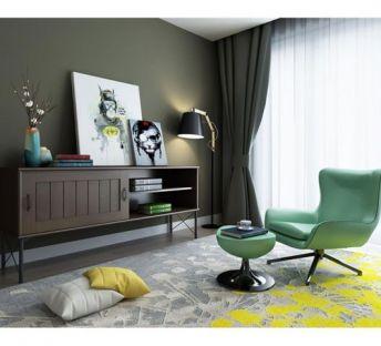 现代电视柜休闲椅组合