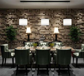 现代餐桌椅造型背景墙组合