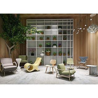 现代花架休闲椅组合3d模型