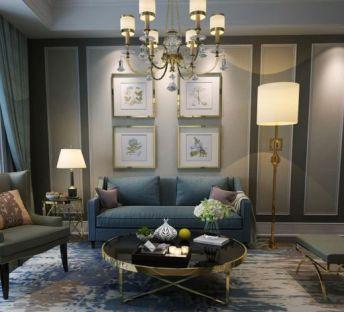 现代客厅沙发茶几陈设品组合