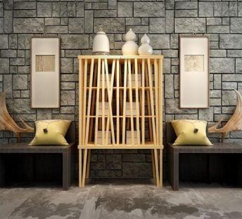 新中式柜子木雕羊角饰品组合
