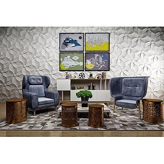 现代座椅茶几背景墙组合3d模型