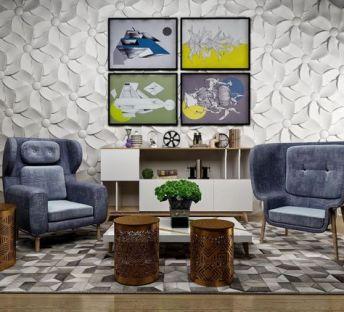 现代座椅茶几背景墙组合