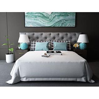 现代卧室床台灯组合3d模型