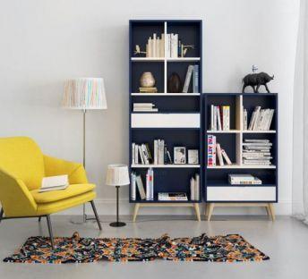 北欧单椅书柜组合