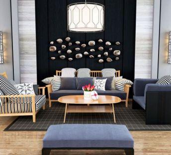 现代休闲沙发椅茶几组合