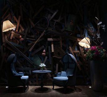 美式单人沙发椅创意背景墙组合