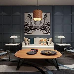 现代沙发茶几新古典台灯模型