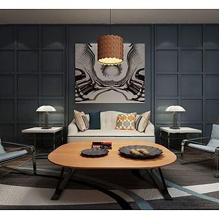 现代沙发茶几新古典台灯3d模型