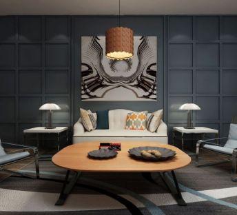 现代沙发茶几新古典台灯
