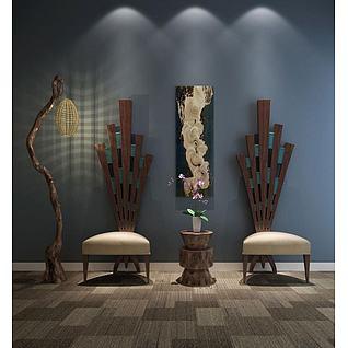 创意枯树落地灯单人椅组合3d模型3d模型