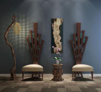 创意枯树落地灯单人椅组合