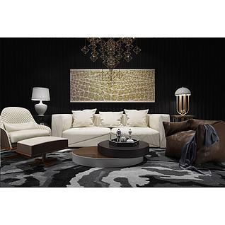创意几何吊灯沙发茶几组合3d模型