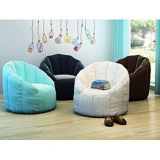 创意懒人沙发拖鞋组合3d模型3d模型