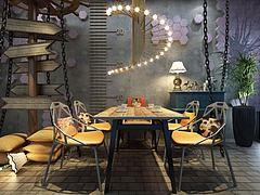 工业风餐厅桌椅吊灯组合模型3d模型