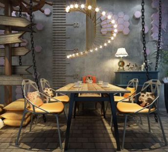 工业风餐厅桌椅吊灯组合