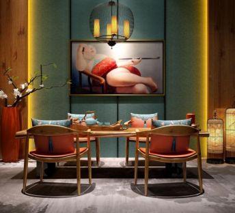新中式餐厅桌椅干枝花艺组合