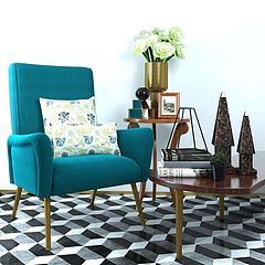 现代休闲椅小屋子饰品组合3D模型3d模型