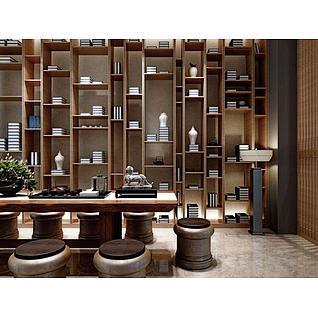 新中式茶室桌椅书架组合3d模型