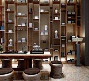新中式茶室桌椅书架组合