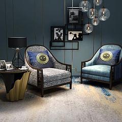 中式休闲椅灯泡吊灯组合3D模型3d模型