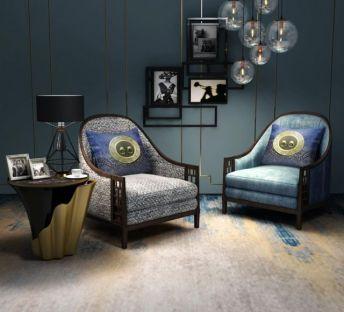 中式休闲椅灯泡吊灯组合