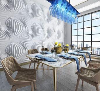 现代餐厅桌椅蓝水晶吊灯组合