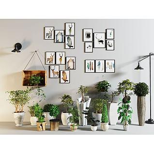 照片墙绿植盆栽组合3d模型3d模型