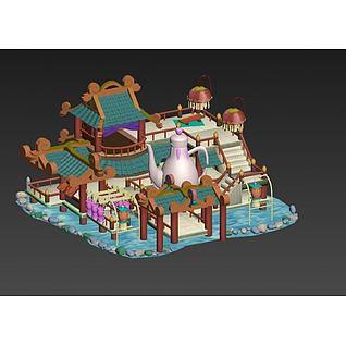 古代酒楼游戏场景3d模型