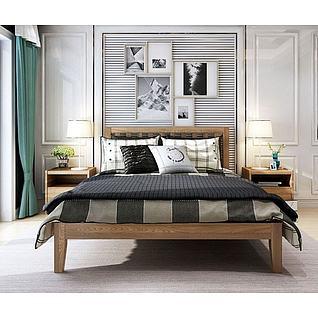 北欧风简约双人床3d模型3d模型