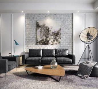 后现代客厅沙发茶几组合