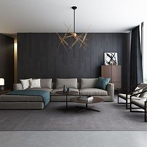 3d现代客厅<font class='myIsRed'>转角沙发</font>休闲椅组合模型