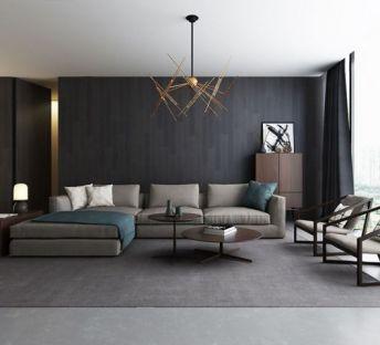 现代客厅转角沙发休闲椅组合