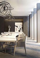 简约餐桌椅工业风吊灯组合模型3d模型