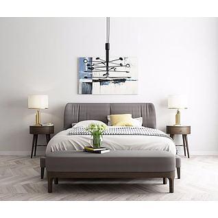 现代床具3d模型