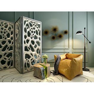 现代沙发屏风组合3d模型