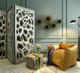 现代沙发屏风组合