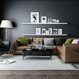 3d现代<font class='myIsRed'>皮质沙发</font>椅子组合模型