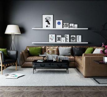 现代皮质沙发椅子组合