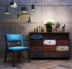 工业风装饰柜单椅组合模型3d模型